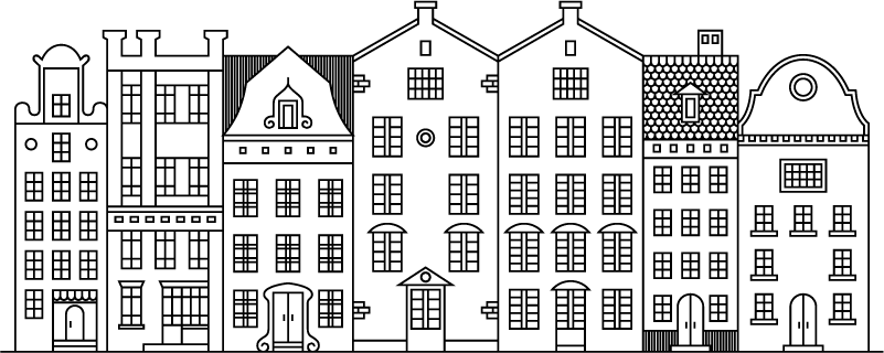 TenStickers. Muurstickers woonkamer grachtpant huisjes Amsterdam. Leuke Amsterdam muursticker van gezellige grachtenpand muurstickers en  huisjes muurstickers. Amterdam sticker is een leuk idee voor in uw woonkamer!