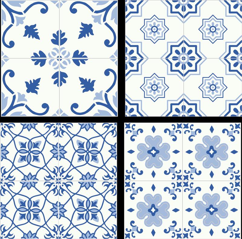 TenStickers. Muurstickers keuken Delft blauw tegeltjes. Tegelstickers delft blauw, een leuk idee als tegelstickers keuken. Knap uw keuken op met leuke delft blauwe tegel stickers!