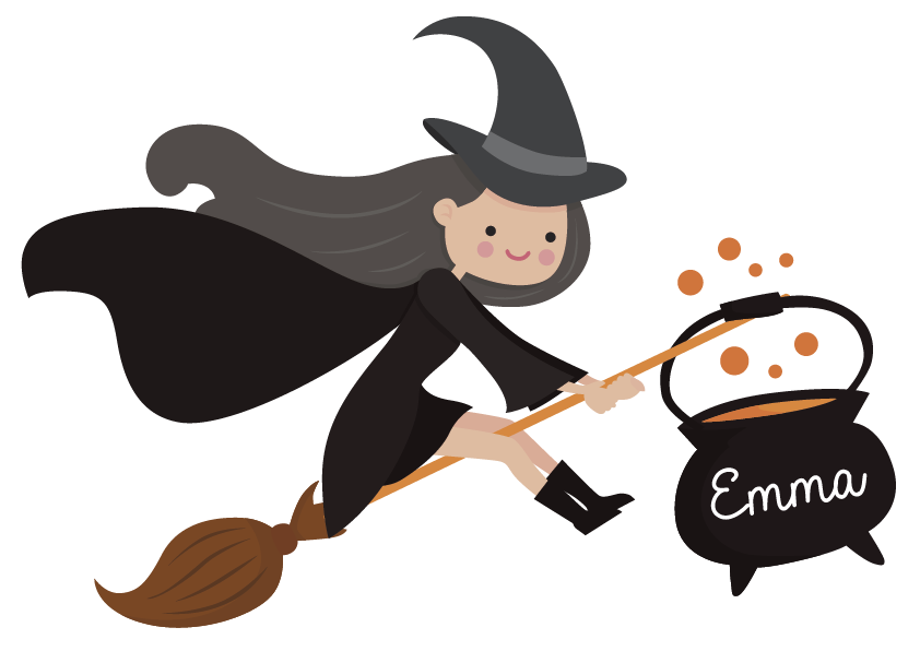 TenStickers. Sticker Chambre Enfant Sorcière Personnalisée. Envie d'un dessin autocollant mural pour la chambre de votre enfant à Halloween ? Ne cherchez plus : cette petite sorcière peut être personnalisée !