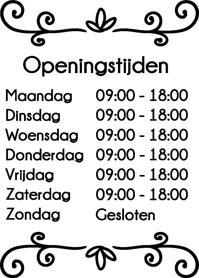 TenStickers. Bedrijfsstickers gepersonaliseerde openingstijden. Openingstijden raamstickers voor winkels: Gepersonaliseerde raamsticker openingstijden winkel, winkelopeningstijden raamsticker of winkelruit stickers