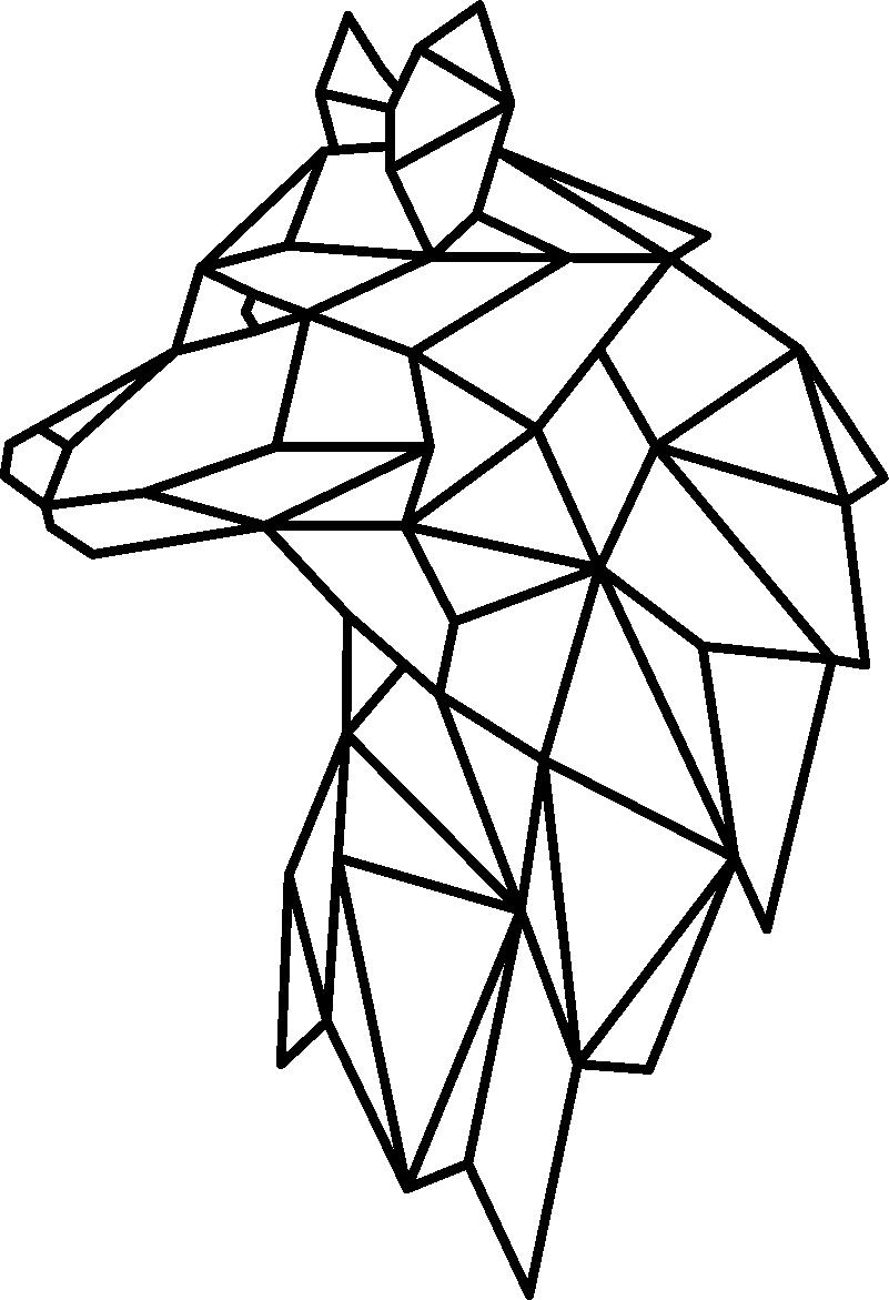 Vinil com animais selvagens Lobo geométrico - TenStickers