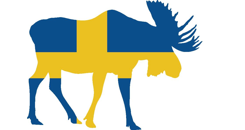 Tenstickers. älg sveriges bärbara klistermärke. Den svenska flaggan. Perfekt för hem eller företag. Lämplig för personliga gadgets och apparater. Finns i olika storlekar.