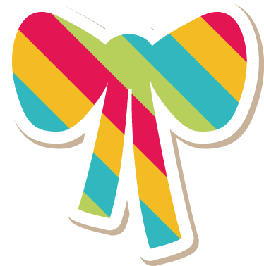 TenStickers. Colourful Striped Bow Sticker. A colourful striped bow sticker to decorate your child´s room. Decorate their room with this wonderful decal and make them smile.