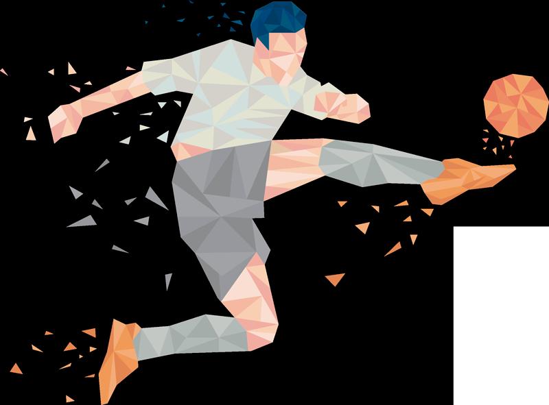 TenStickers. stickers muraux abstrait footballeur professionnel football. Design décoratif stickers muraux sport abstrait football d'un joueur professionnel. Disponible dans toute taille désirable. Facile à appliquer.