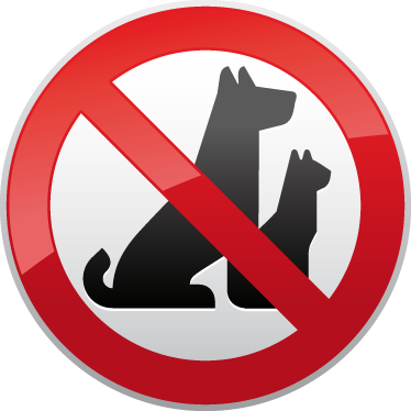 TenStickers. No Pets Warning Sign Sticker. Business Signs - illustration indicating a zone that animals such as dogs and cats are not allowed. Ideal for shop fronts, windows and commercial zones, or as a car sticker to make sure people know the rules.