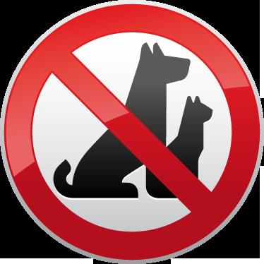 TenStickers. Evcil hayvan uyarı işareti yok. Iş işaretler - köpekler ve kediler gibi hayvanlara izin verilmeyen bir bölge gösteren çizim. Mağaza cepheleri, pencereler ve ticari bölgeler için veya insanların kuralları bilmesini sağlamak için bir araba etiketi olarak idealdir.