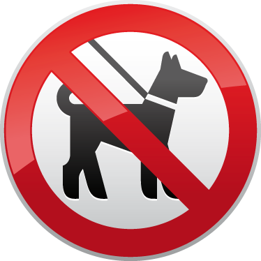 TenStickers. Dogs Forbidden Sign Sticker. Window sticker illustrating a sign indicating a zone does not allow dogs. Ideal sticker for shop entrances and commercial zones. This straight to the point eye-catching decal has one clear meaning that everyone will understand.