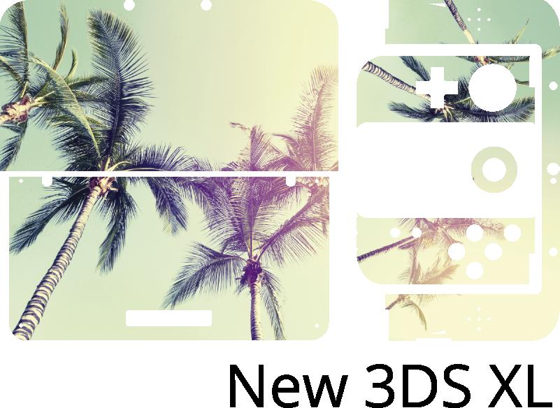 TENSTICKERS. ニンテンドーヤシの木風景ニンテンドースキン. ヤシの木の風景デザインの装飾的なニンテンドービニールステッカー。適用が簡単で、どのモデルサイズでも利用できます。