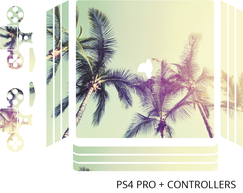 TenStickers. 야자수 풍경 ps4 스티커. Ps4를위한 장식적인 야자수 풍경 데칼. 콘솔을 완전한 형태로 감싸는 것이 좋습니다. 적용하기 쉽습니다.