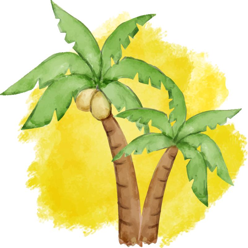 TenStickers. 棕榈树(室内笔记本电脑)笔记本电脑皮肤. 装饰笔记本电脑乙烯基贴纸和棕榈树的设计。易于应用,并且可按要求的尺寸提供。高度耐用。