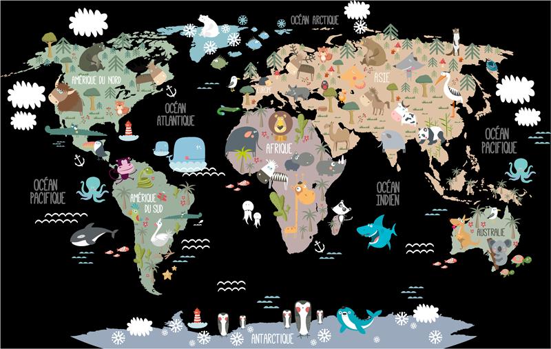 TenStickers. Sticker Chambre Enfant Animaux du Monde. Envie d'une décoration ludique et pédagogique pour la chambre de votre enfant ? Cet autocollant monde de tous les animaux du globe sera parfait !