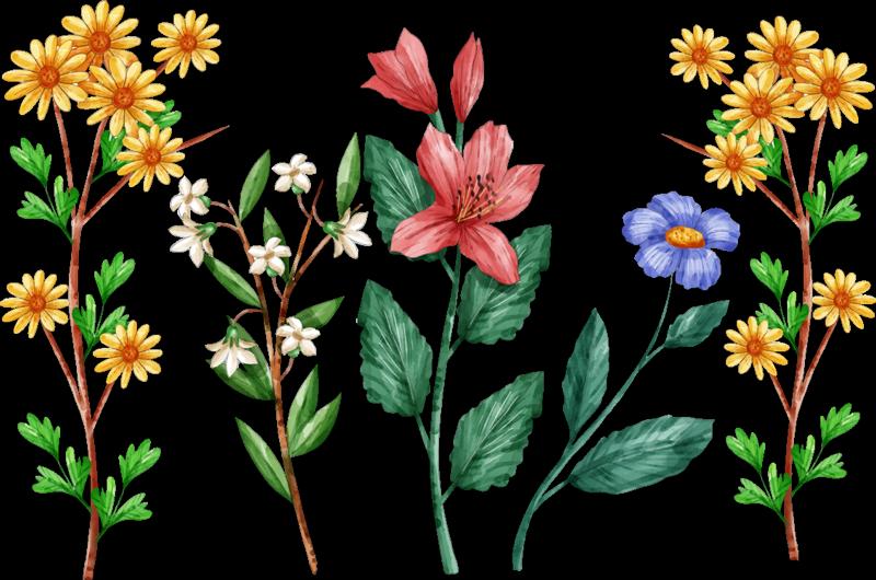 TenStickers. Muurstickers bloemen Botanische bloemen. Deze authentieke botanische bloemen wandsticker is de perfecte versiering voor jouw slaapkamer voor het nieuwe seizoen lente.