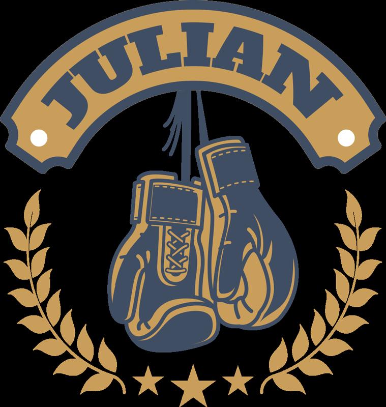 TenStickers. Sticker Maison Gants de Boxe et Prénom. Fan de boxe ou carrément boxeur à vos heures perdues, ce sticker sport de gants de boxe avec prénom personnalisé sera fait pour vous !