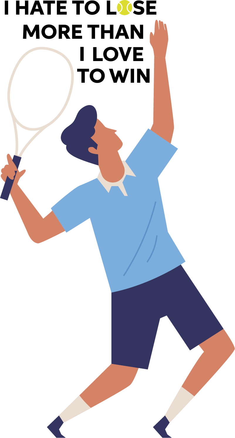 TenStickers. Tennis Hate to Lose Home Wall Sticker. Motivate yourself with this superb Tennis themed sticker, depicting a quote from the great Jimmy Connors! Extremely long-lasting material.