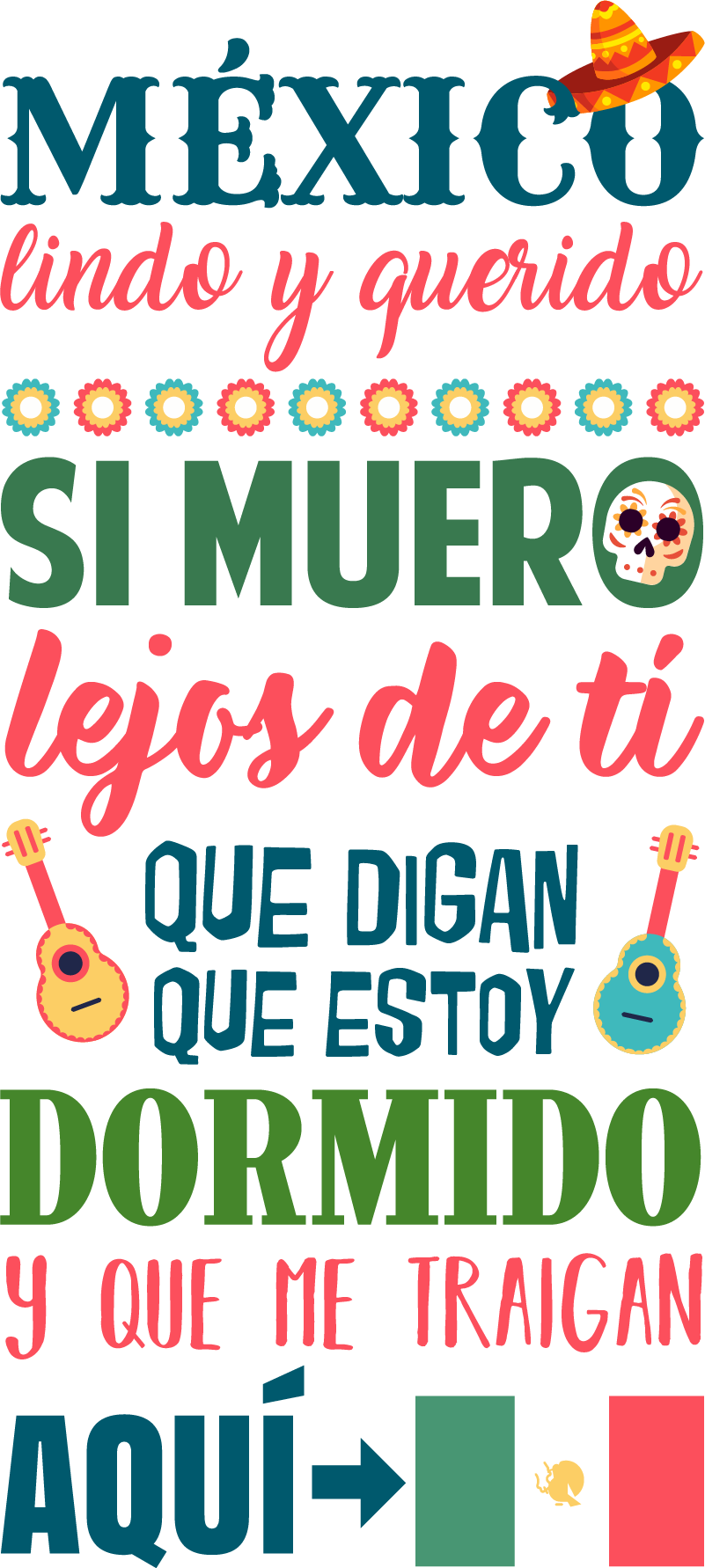 """TenVinilo. Vinilo frase México Lindo y Querido. Pegatina formada por una parte de la canción """"México lindo y querido"""" del cantante mexicano Jorge Negrete. Promociones Exclusivas vía e-mail."""