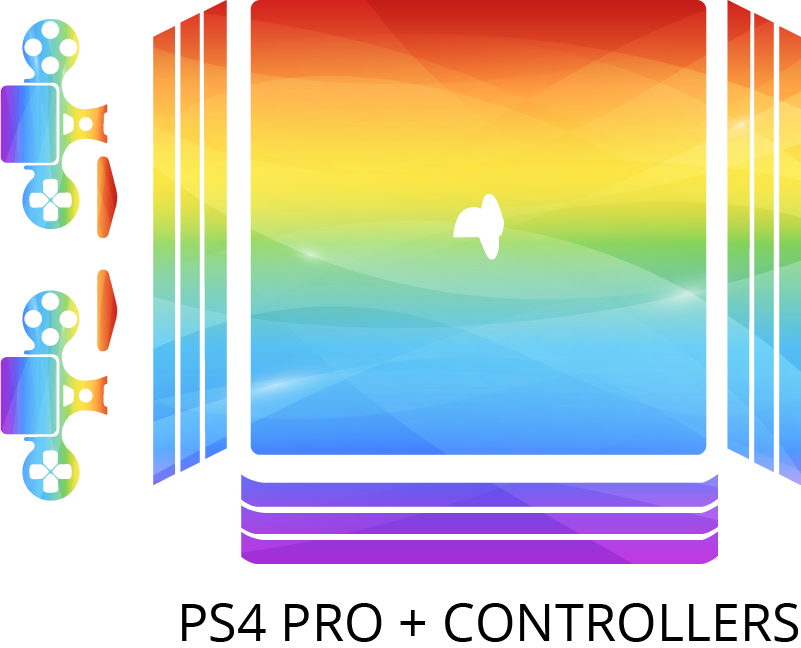 TenStickers. Rainbow colors ps4 sticker. Rainbow colour decal for ps4 game console decoration.  Easy to apply and durable because it is made from a quality vinyl and self adhesive.