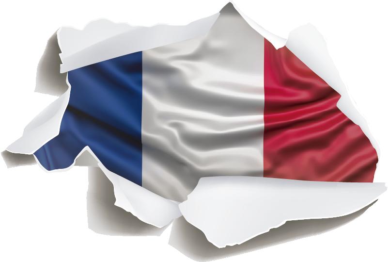 TenStickers. Autocollant Tuning Drapeau Français. Ce sticker tuning représente le drapeau français dans un style de trompe-l'oeil, qui correspondra à tout type de véhicule.