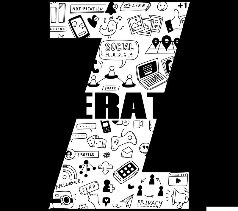 """Tenstickers. Sukupolven z kotiseinän tarra. Tämä teksti-tarra, joka edustaa suurta """"z"""": tä ja jossa on kaikki digitaalisen maailman kuviot, tehdään kaikille z-sukupolven ihmisille."""