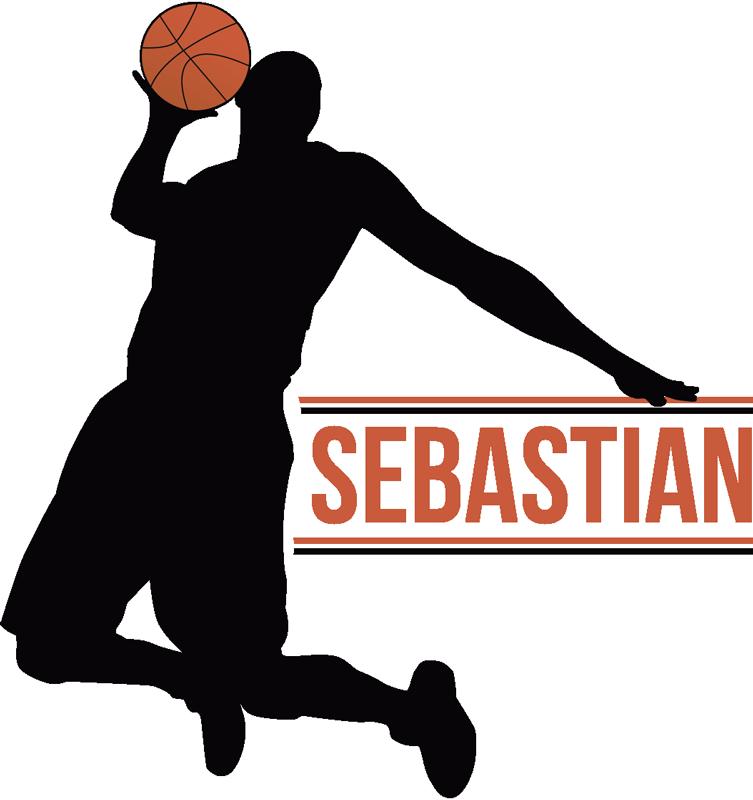 TenStickers. Naklejka na ścianę sylwetka koszykarz sport piłka. Naklejka na ścianę koszykarz czyli sylwetka skaczącego mężczyzny trzymającego piłkę w ręce, dekoracja stworzona dla sportowców!