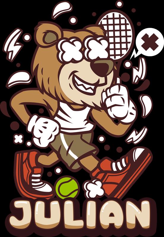 TenStickers. Tennisspieler Cartoon Bär Wandtattoo. Dekorativer Bären Charakter Tennisspieler Aufkleber mit anpassbarem Namen. Geben Sie einen idealen Namen für das Design an. In jeder gewünschten Größe erhältlich.