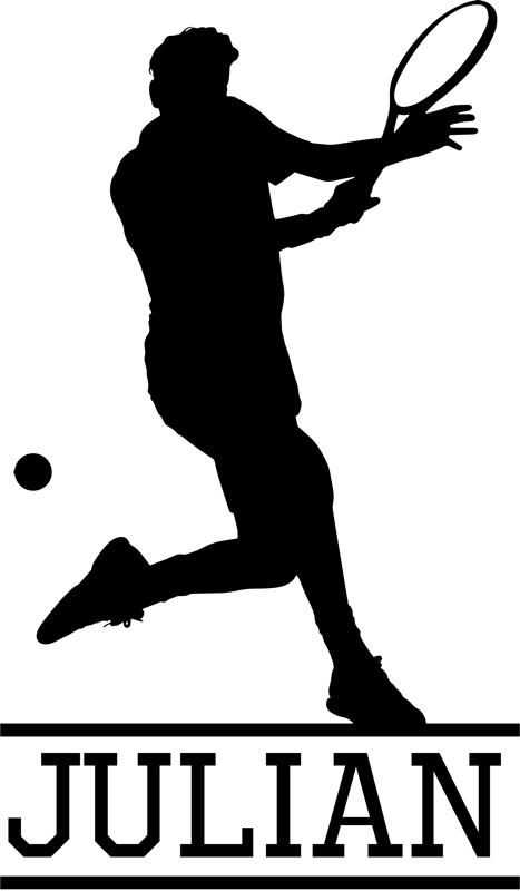 TenVinilo. Vinilo pared jugador de tenis silueta. Pegatina ideal para personalizar una habitación juvenil formada por la ilustración de un jugador de tenis. Compra Online Segura y Garantizada.