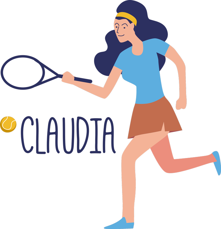 TenStickers. Female Tennis Customisable Sticker. Pay tribute to the magnificent game of Tennis with this superb customisable Tennis sticker, depicting a female Tennis player!