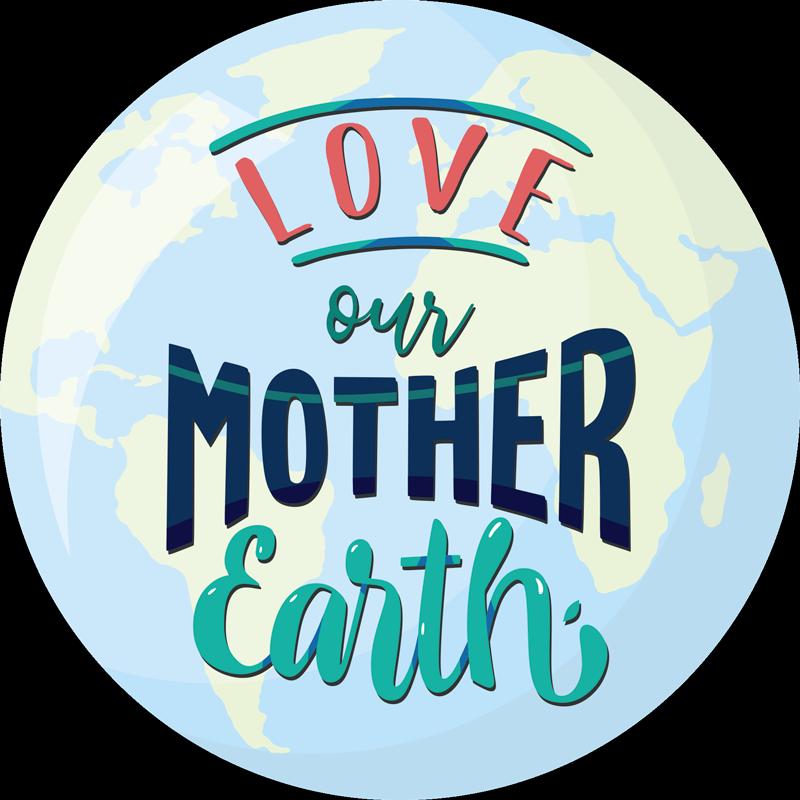 """TenVinilo. Vinilo para portátiles madre tierra. Vinilo para portátil o tablet formado por el diseño del planeta tierra acompañado del texto """"Love our mother earth"""". Fácil aplicación y sin burbujas."""