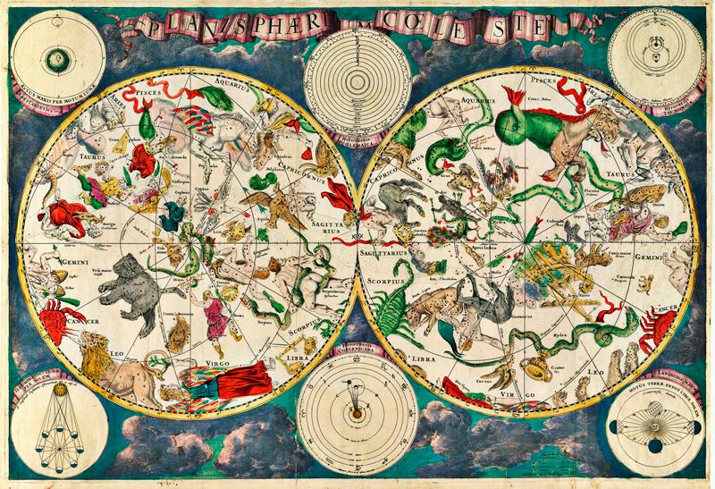 TenStickers. Disegno per pareti mappa stellare. Se sei appassionato dell'astrologia e dei segni zodiacali, decora i tuoi spazi con questo adesivo murale con una mappa stellare!