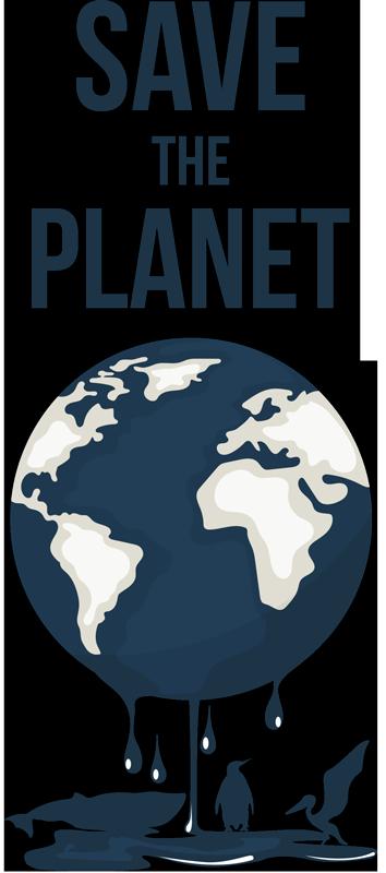 """TenStickers. Retten Sie den Planeten Wandtattoo. Ein Wandaufkleberentwurf mit dem Globus und dem Text """"Save the Planet"""". Ein einfach anzuwendendes Design mit hoher Qualität."""