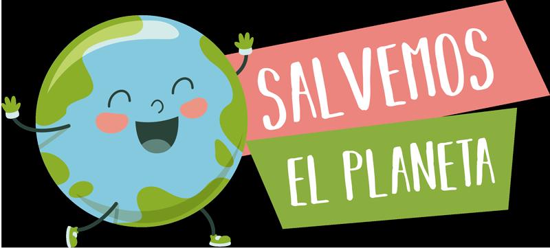 """TenVinilo. Vinilo para pared salvemos el planeta. Colorida pegatina adhesiva formada por la ilustración del planeta tierra acompañado del texto """"Salvemos el planeta"""". Descuentos para nuevos usuarios."""