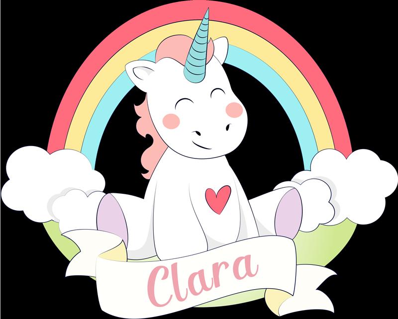 TenStickers. Adesivo murale arcobaleno unicorno fiaba. Sticker da muro personalizzabile con il disegno di un unicorno e arcobaleno. Fornire un nome per personalizzare il design.