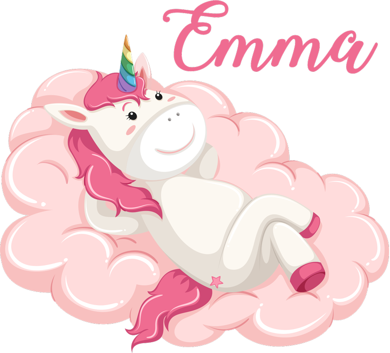 TenStickers. Unicorn with name fairy tale wall decal. Fairy tale wall sticker with the design of baby unicorn and a customisable name. Provide any desired name for the amazing design.