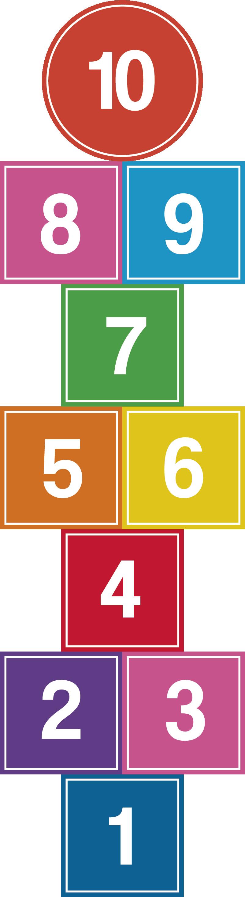 TenVinilo. Vinilo infantil rayuela colorida. Colorido vinilo adhesivo para el suelo de una habitación infantil formado por el diseño del juego de la rayuela. Envío Express en 24/48h