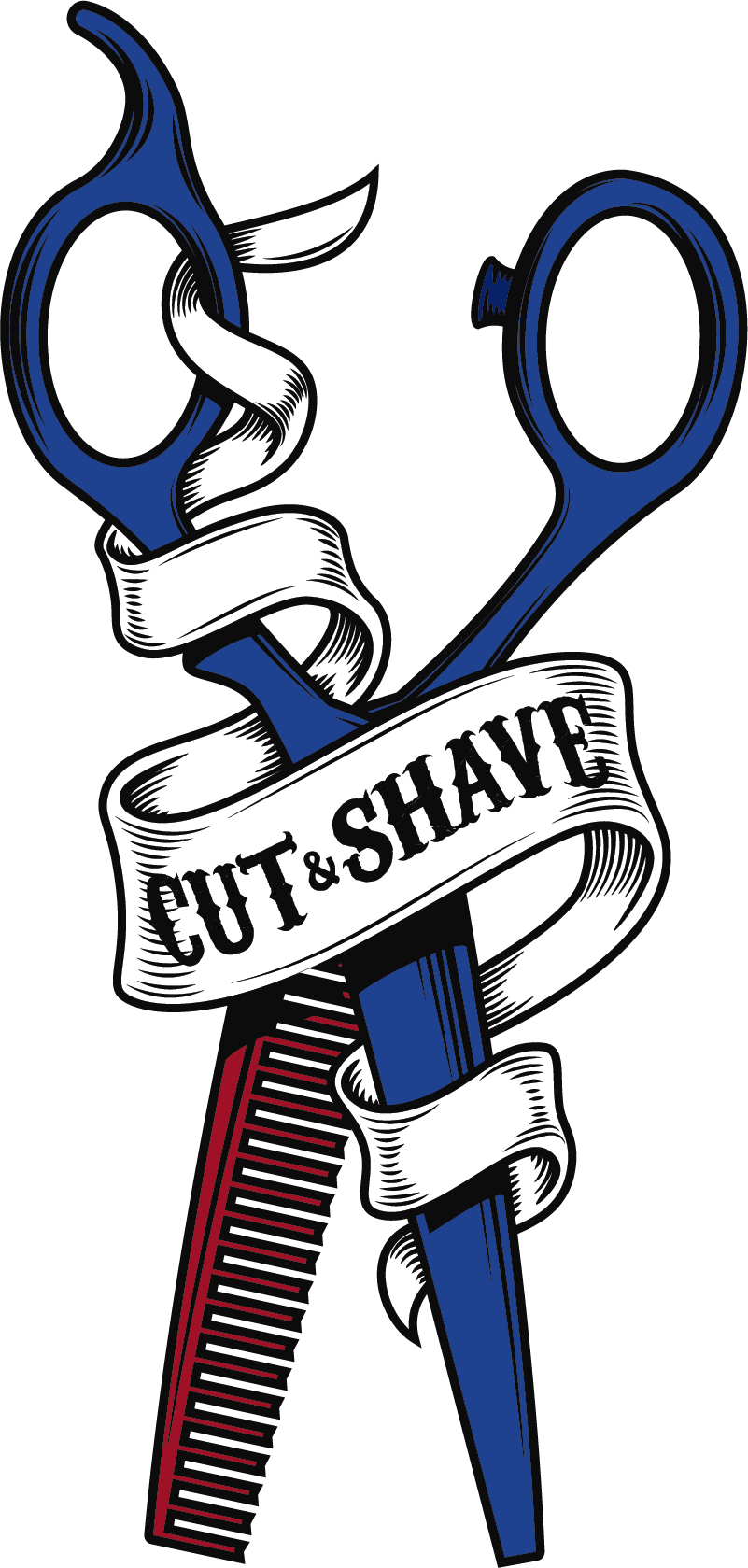 TenStickers. Scissors And Comb Business Sticker. Bring an old timey feel to your barber shop today with this awesome cut and shave mirror decal. Choose from a wide range of sizes!
