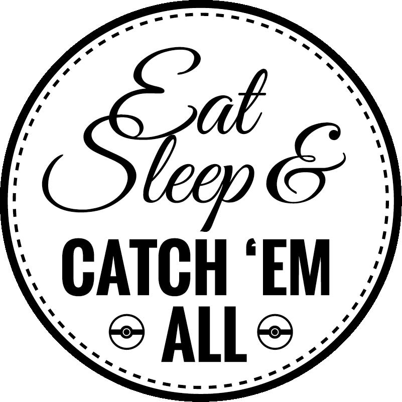 "TenVinilo. Vinilo videojuego catch em all. Vinilo de texto de un diseño circular con un texto que dice ""Eat Sleep and Catch 'Em All""  para Huawei. Varios tamaños disponibles."
