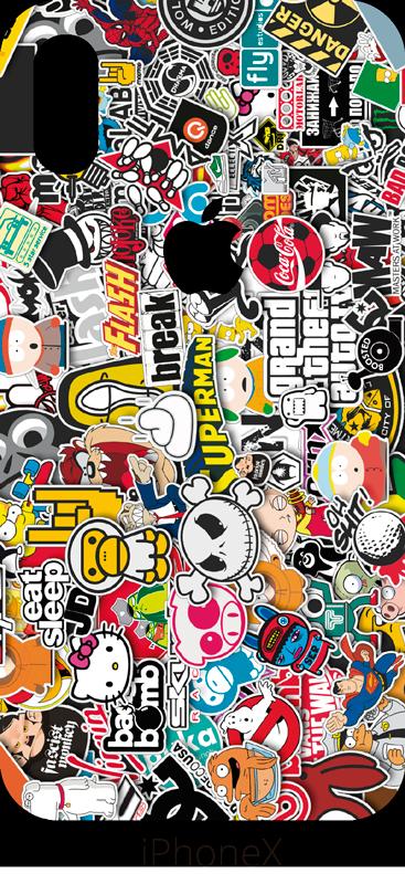 TenStickers. Urban Sticker Stickerbomb iPhone. Sind Sie auf der Suche nach einer Comicfigur als Handyaufkleber? Wir haben nämlich gleich mehrere Charaktere in einen Aufkleber zusammengepackt.