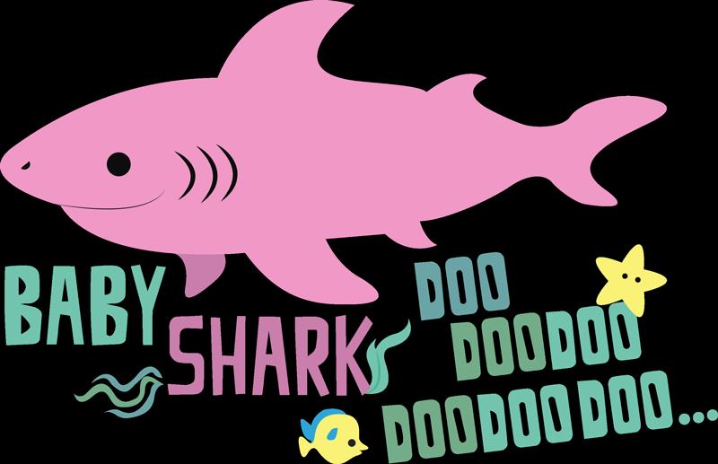 """TenVinilo. Vinilo frase Canción baby shark. Pegatina infantil formada por el texto """"Baby Shark Doo, Dooooo, Doooooooo"""" acompañado de un tiburón rosa. Atención al Cliente Personalizada."""