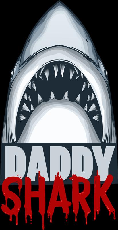 TenStickers. Text Aufkleber Daddy Shark. Sie mögen das Kinderlied Baby Shark, aber Ihnen sind die meisten Wandtattoos zu kindisch? Dann präsentieren wir Ihnen unseren Daddy shark