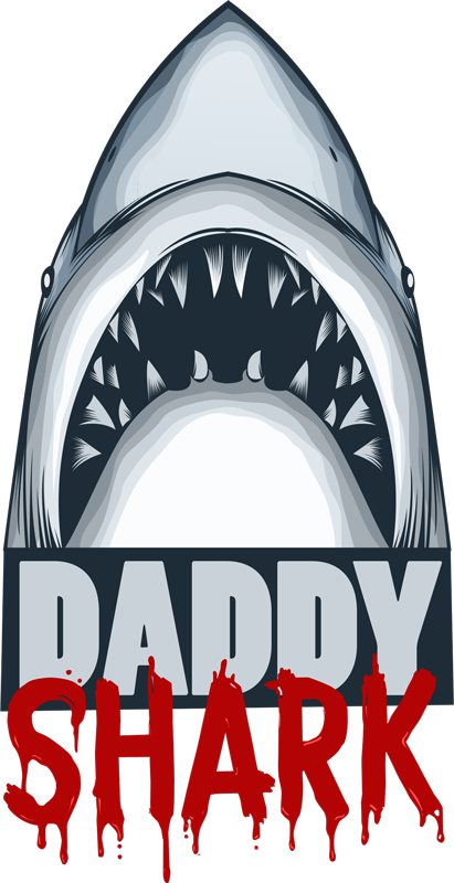 TenStickers. Muurstickers slaapkamer Daddy shark text sticker. Spannende shark muursticker! Bekijk hier interessante muurstickers haaien, grapppige haaien muurstickers, d addy Shark muursticker en shark stickers!