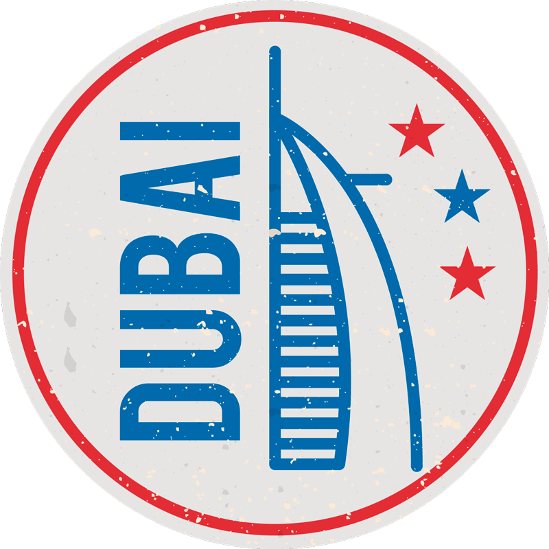 TenStickers. Dubai Retro Laptop Sticker. Pay tribute to the absolutely magnificent Burj al Arab and the stunning Dubai, with this fantastic location laptop sticker!