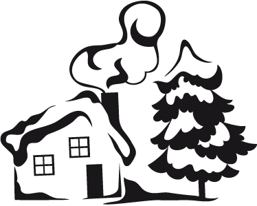 TenStickers. Smokey Chimney House Wall Sticker. Wall Stickers - Illustration of a small house with chimney covered in snow next to a frosted tree.
