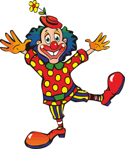 TenVinilo. Vinilo infantil ilustración clown. Vinilo decorativo infantil. Color, alegria y diversión para los espacios de tus hijos, todo reunido en un bonito adhesivo decorativo. Payaso con flor en el sombrero saltando con los brazos abiertos.