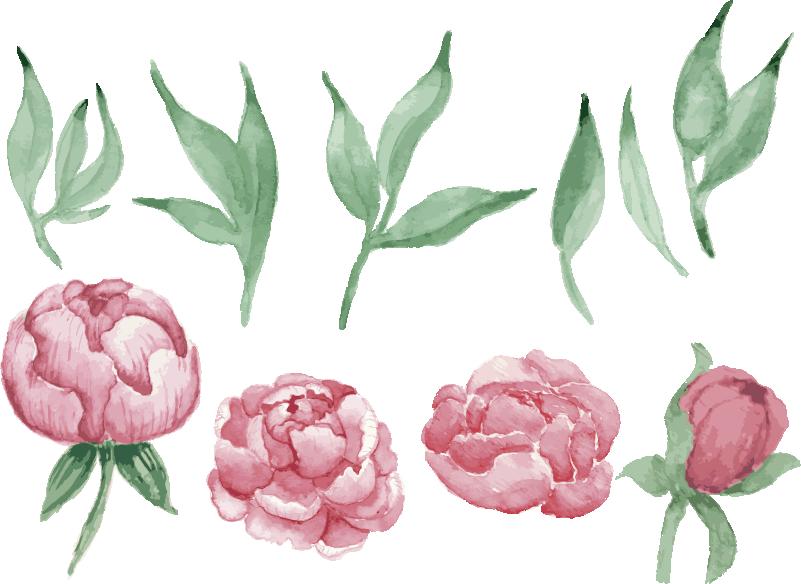 TENSTICKERS. ピンクの牡丹の花の壁のデカール. ピンクの牡丹の花の植物のデザインが付いている装飾的な家のビニールの壁のステッカー。適用が簡単で、さまざまなサイズのオプションで利用できます。