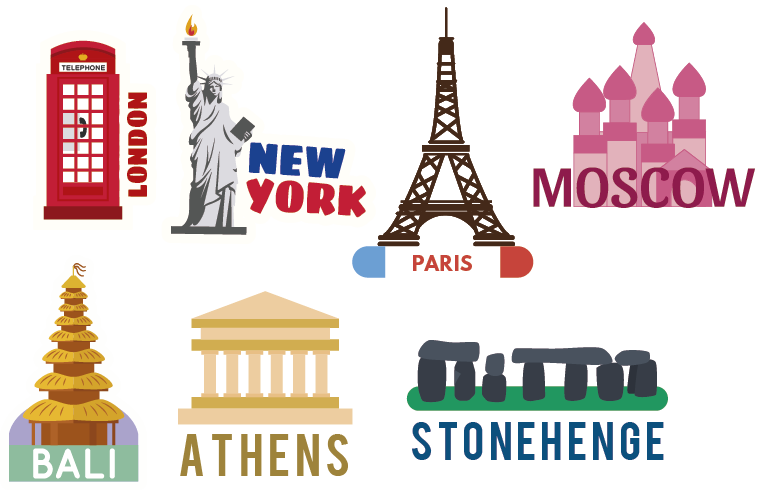 TenStickers. Famous places wall decal. Decorative  vinyl sticker with the design of cities and countries in colorful style. It can be applied o any flat surface in the size of preference.