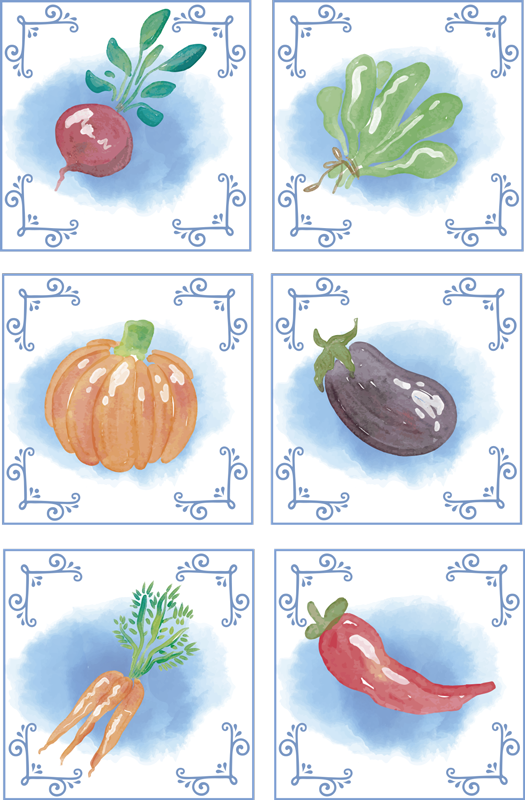 TenStickers. Fresh vegetables tile transfer. Decorative vinyl tile sticker with the design of different vegetables to decorate the kitchen wall space. Easy to apply.