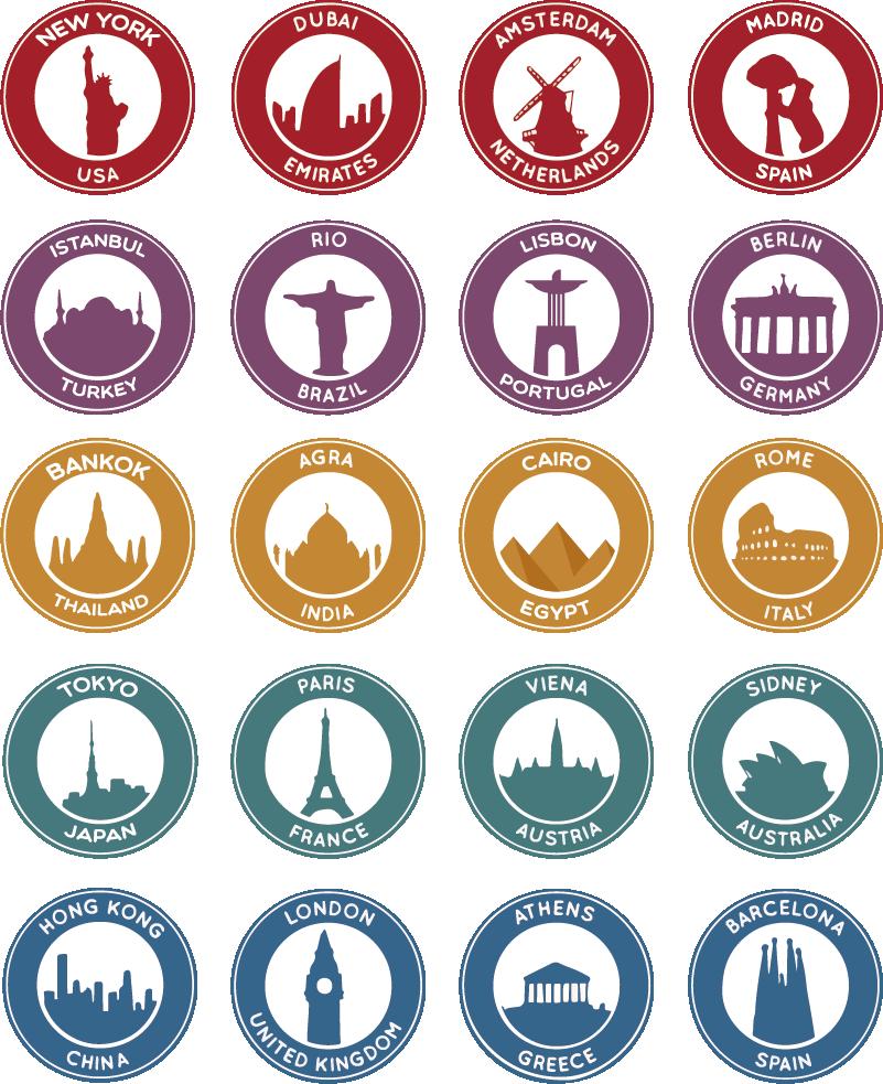 TenVinilo. Pegatina viaje lugares famosos. Original pack formado por 20 pegatinas con el nombre de un país y el monumento y la ciudad más emblemática de este. +50 Colores Disponibles