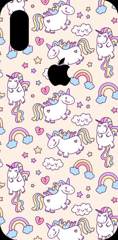 TenVinilo. Vinilo decorativo animal patrón unicornios. Pegatina para iPhone formada por un patrón de unicornios, arcoíris y estrellas sobre un fondo en color crema. Vinilos Personalizados a medida.