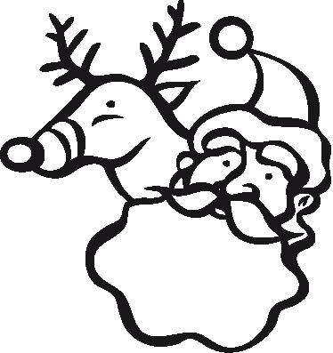 TENSTICKERS. サンタとルドルフの壁ステッカー. 父のクリスマスとルドルフの壁ステッカーイラスト。家庭やビジネスに最適なクリスマスの飾り。