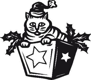 TenStickers. Muursticker kat kerstcadeau. Deze muursticker is een leuk en decoratief ontwerp van een kat verpakt als kerstcadeau. Ideaal ter decoratie rond de kerstdagen.