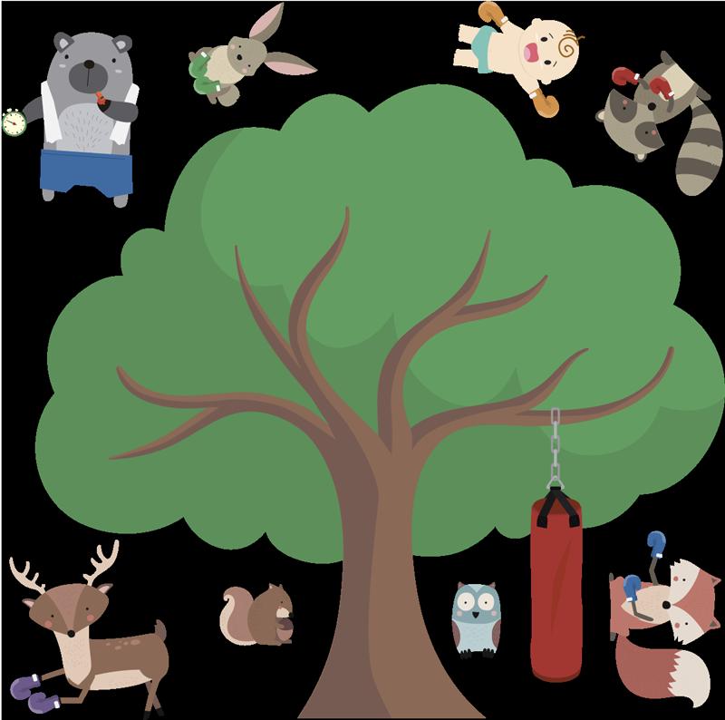 TENSTICKERS. ボクシング動物ホームウォールステッカー. 子供のためのクールなボクシングの動物wallsticker。子供用のクールなステッカー、子供部屋のウォールステッカー、ユニークな子供部屋の動物用ステッカーを見てください。
